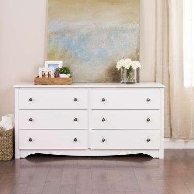bedroom dressers monterey 6-drawer white dresser VSJPIOJ