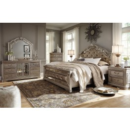 bedroom sets birlanny silver upholstered panel bedroom set TZHGUSB