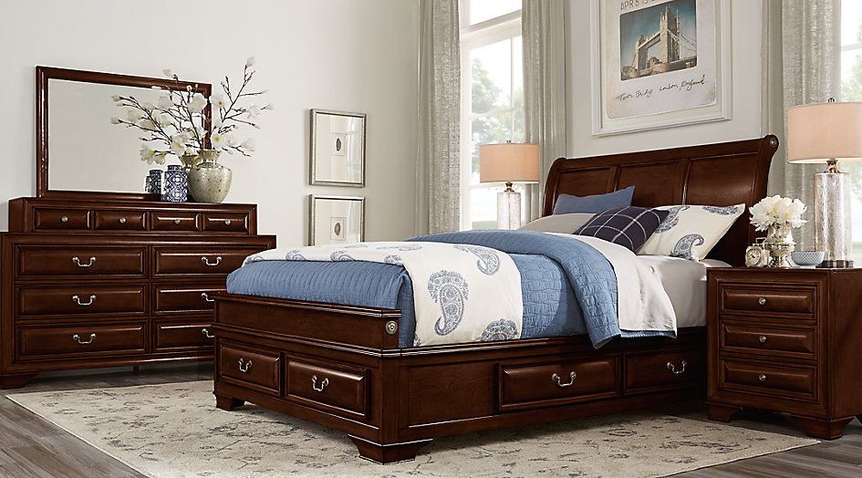 bedroom sets mill valley ii cherry 5 pc queen sleigh bedroom with storage PUXTCDN