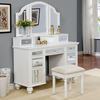 bedroom vanity furniture of america nena contemporary 2-piece mirrored multi-drawer vanity  table CVYVPOH