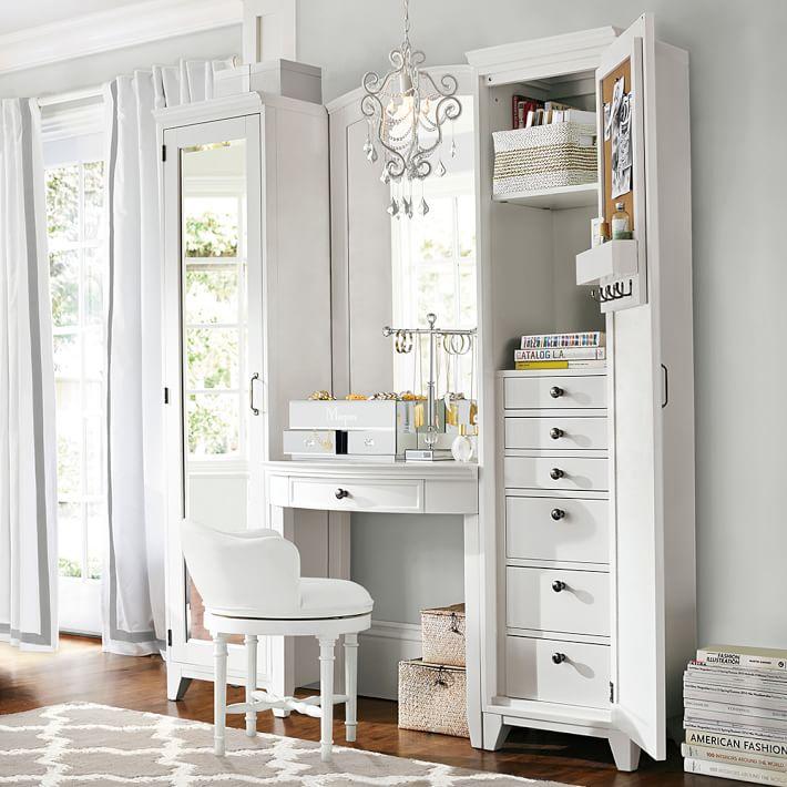 bedroom vanity hampton vanity tower u0026 super set | pbteen GQZUCFI