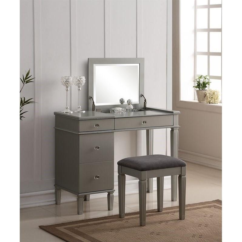 bedroom vanity set in silver QLYEFVT