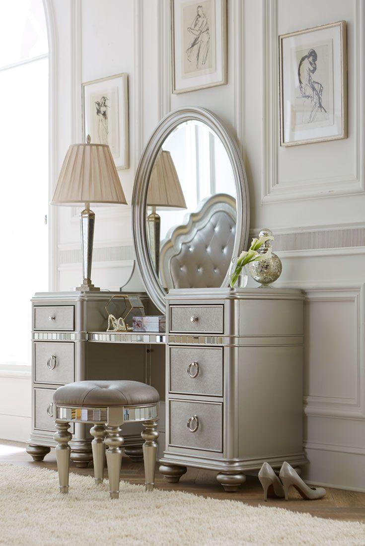 bedroom vanity the havertys brigitte vanity with mirror brings the old hollywood glam BEXTNPL