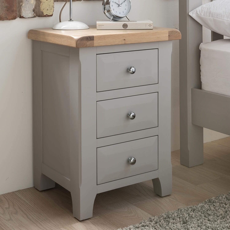 bedside tables vida living clemence soft grey and solid oak bedside table PCVUMEV