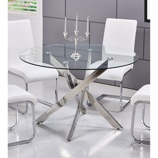 best master furniture t01 round glass dining table - silver KZCIUUN