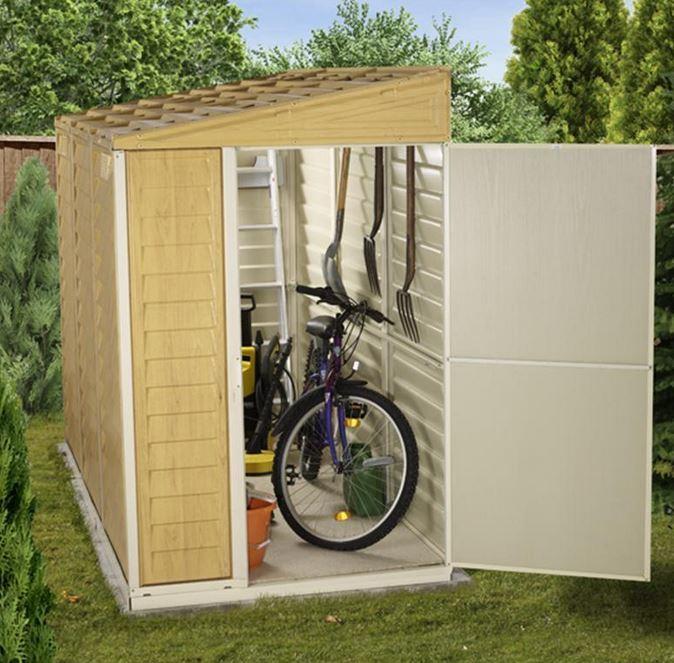 billyoh retford premium woodgrain pent plastic sheds inc foundation kit WAJMVDX