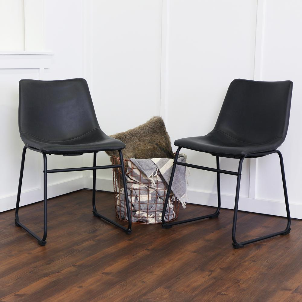 Black dining chairs walker edison furniture company wasatch black faux leather dining chair djpcagt