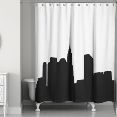black shower curtain city skyline shower curtain in black/white PNPWOMW