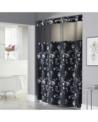 black shower curtain hookless 71 ZFJBWHJ