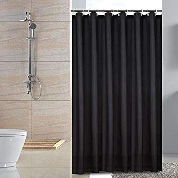 black shower curtain sfoothome fabric shower curtain small size waterproof and mildew free bath KBOPSNM