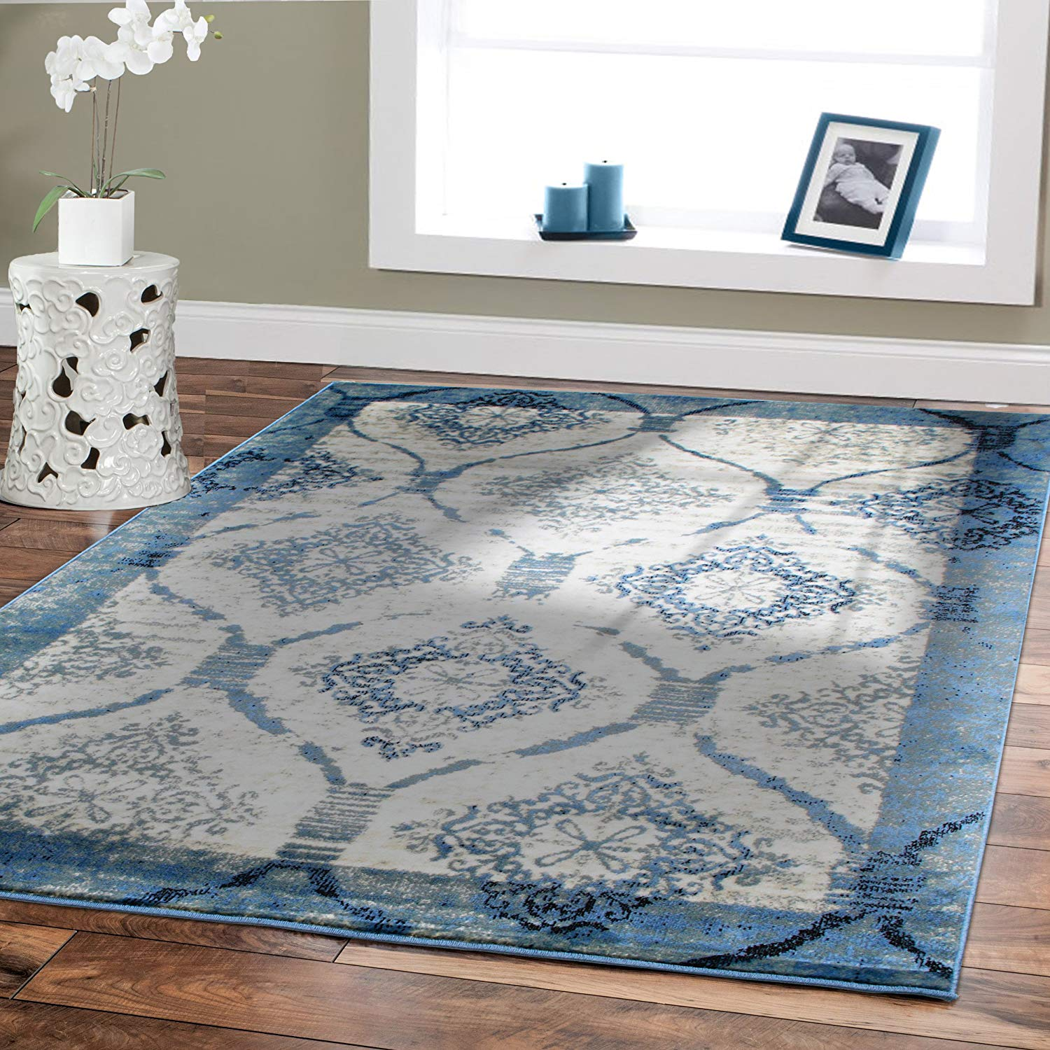 blue area rugs amazon.com: contemporary rugs for living room 5x8 blue area rug modern ZQCCXWI