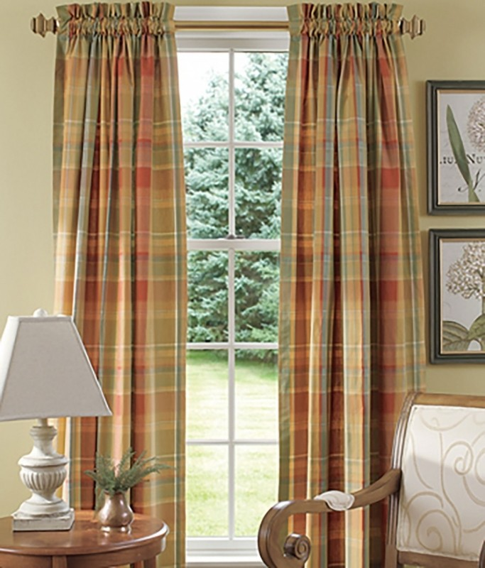 blue plaid curtains ARZNIYF
