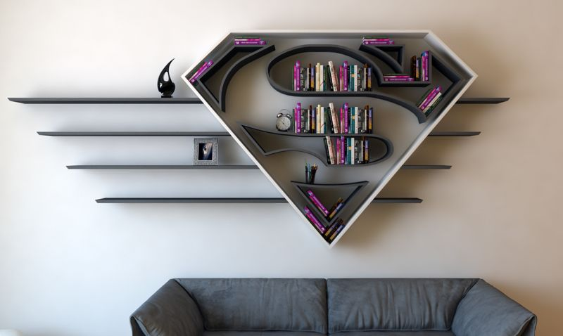 bookshelf design superhero-themed bookshelf designs JCFIZHQ