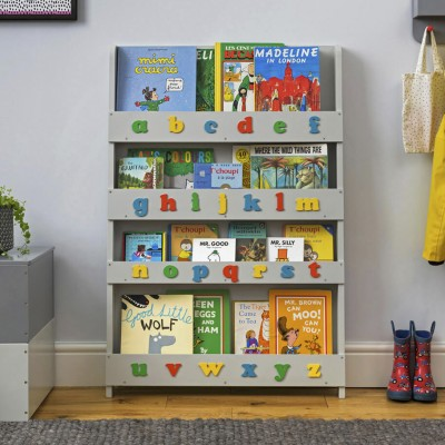 bookshelves for kids kids bookshelf - pale grey, retro colour lowercase alphabet RFCLWVV