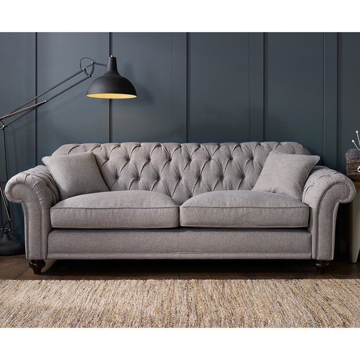 bordeaux button back 4 seater grey fabric sofa with 2 accent UQFCZQW