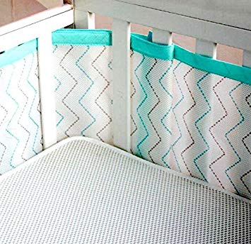 breathable crib bumper with mesh fabric - safe padding provides extra XBBQGXV