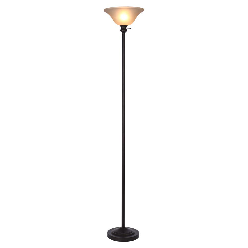 bronze torchiere floor lamp with frosted plastic shade VKHGFPY
