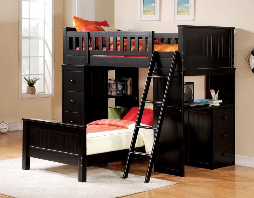 bunk beds with desk this rich wood desk bed features a desk built into the EVOPSNK
