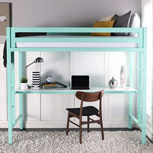 bunk beds with desk we furniture premium twin metal loft bed with workstation, mint HYCLHAD