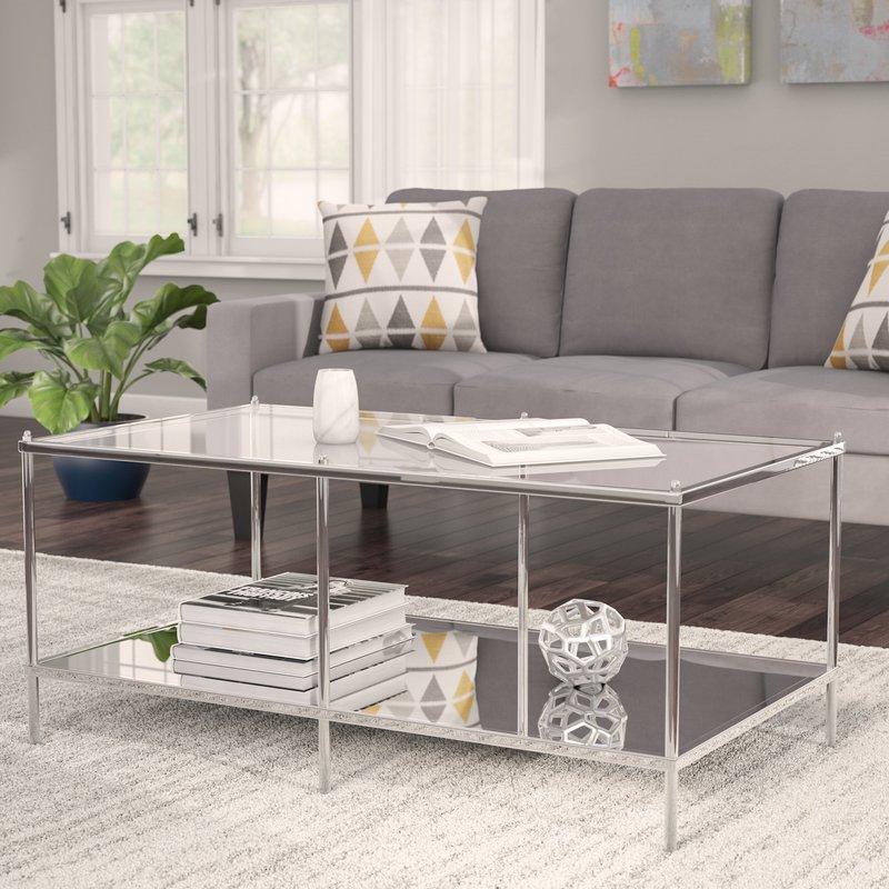 busey glam mirrored coffee table KHPGKFL