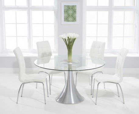 buy the paloma 135cm round glass dining table with calgary chairs QNKZBHI