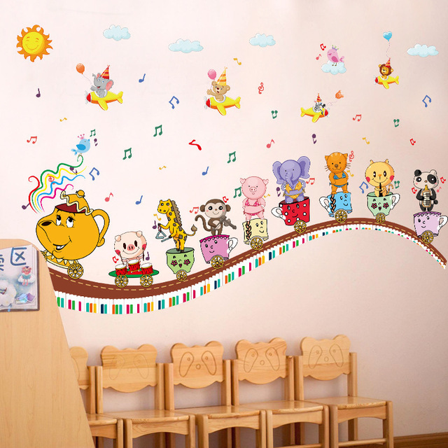 cartoon animal music note cup children wall stickers kids rooms nursery LOJSCIN