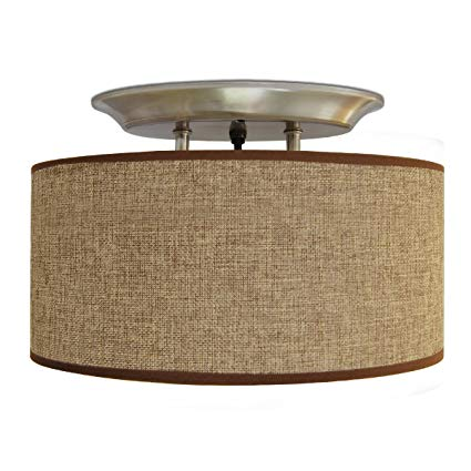 ceiling light shades dream lighting 12v fabric light fixture with brown burlap elliptical oval WOKPJFZ