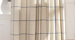 chic cotton/linen blue/beige plaid curtains RGYOQJS
