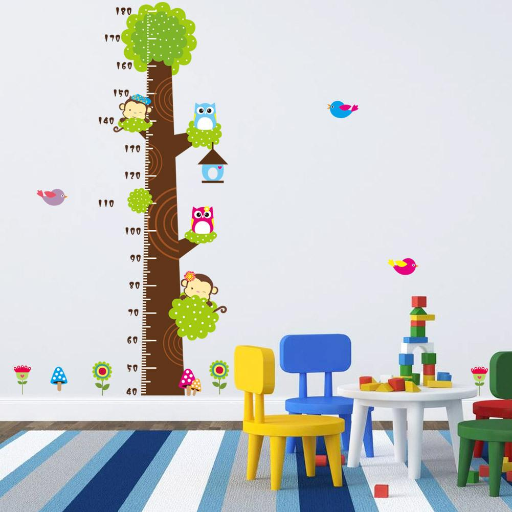 children wall stickers animals height chart decal childrenu0027s room baby nursery cartoon sticker KPLJRDR