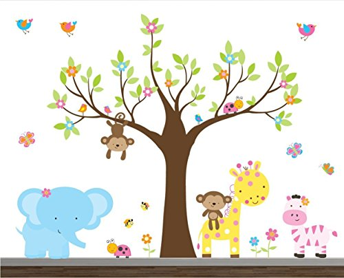 children wall stickers buy girl jungle wall decal set-nursery wall decals-wall stickers-safari wall RLVIZBS