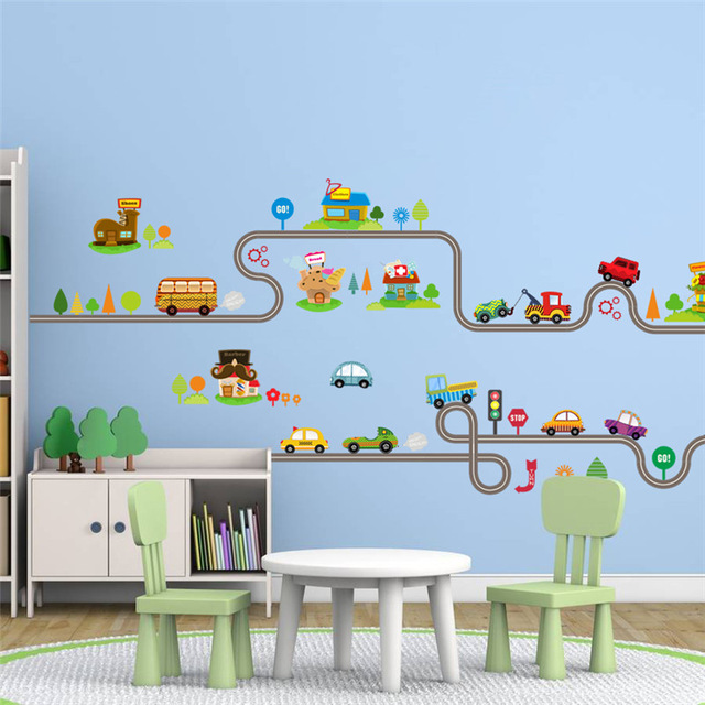 children wall stickers cartoon car bus highway track wall stickers for kids rooms childrenu0027s SQLNCYX