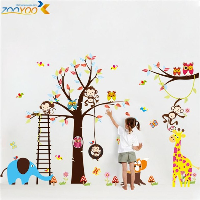 children wall stickers large size animal wall stickers for kids room decorations monkey owl LLZFPGG
