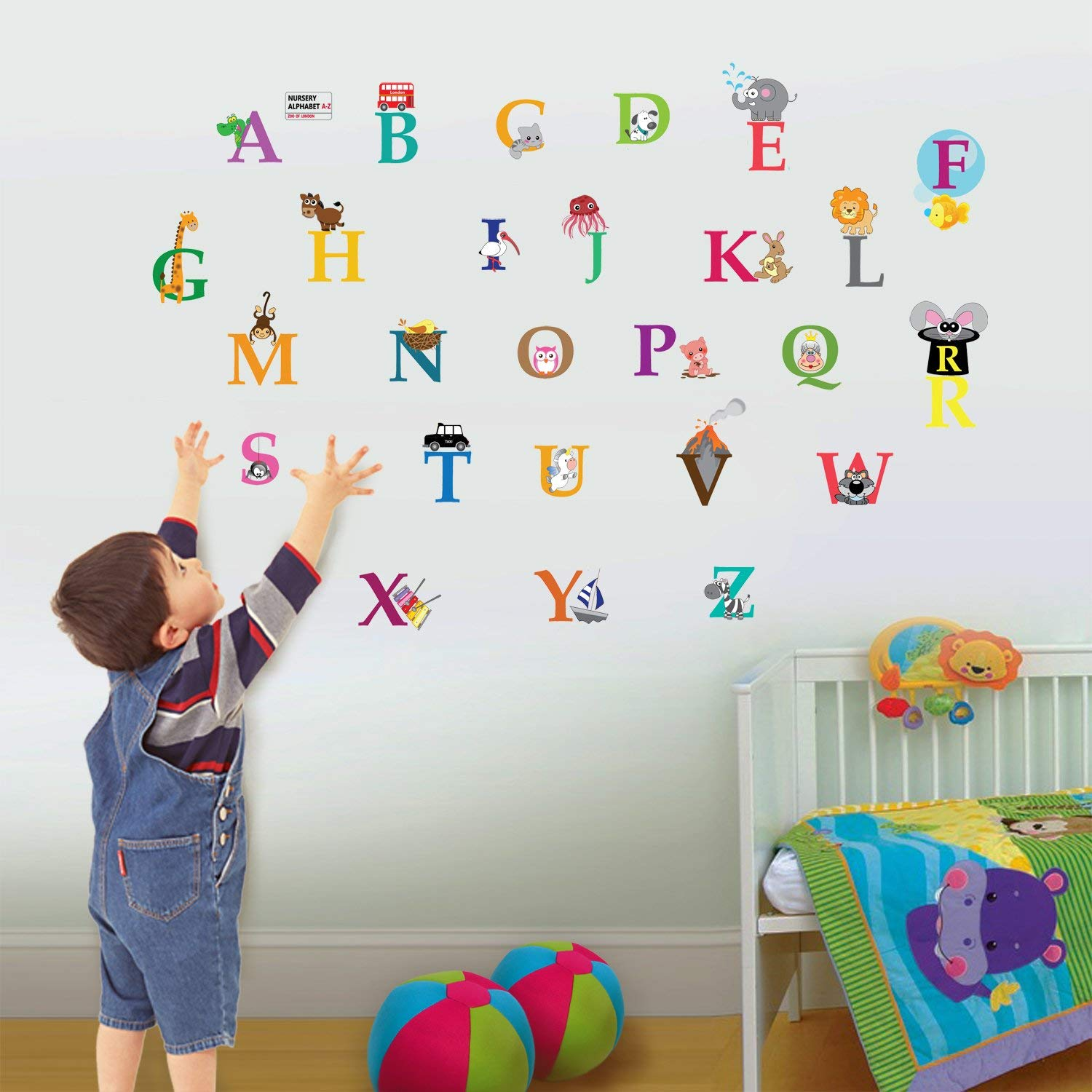children wall stickers walplus 30x60 cm wall stickers cute alphabet london removable self-adhesive RTZJXSC