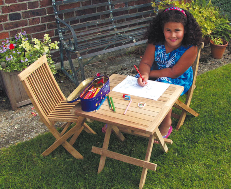 childrens garden furniture ashdown childrens garden table and chairs set - teak outdoor patio OIITLJE