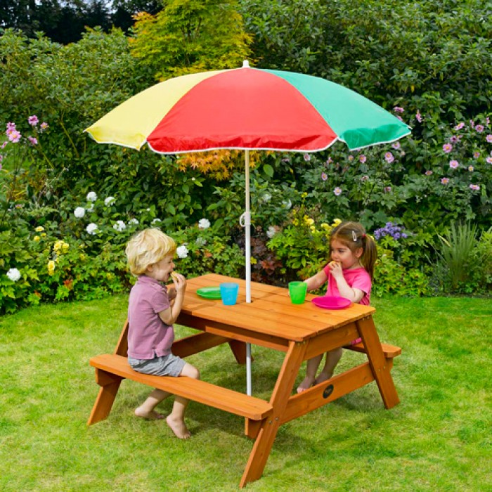 childrens garden furniture plum childrenu0027s garden picnic table with parasol GKXVKPJ