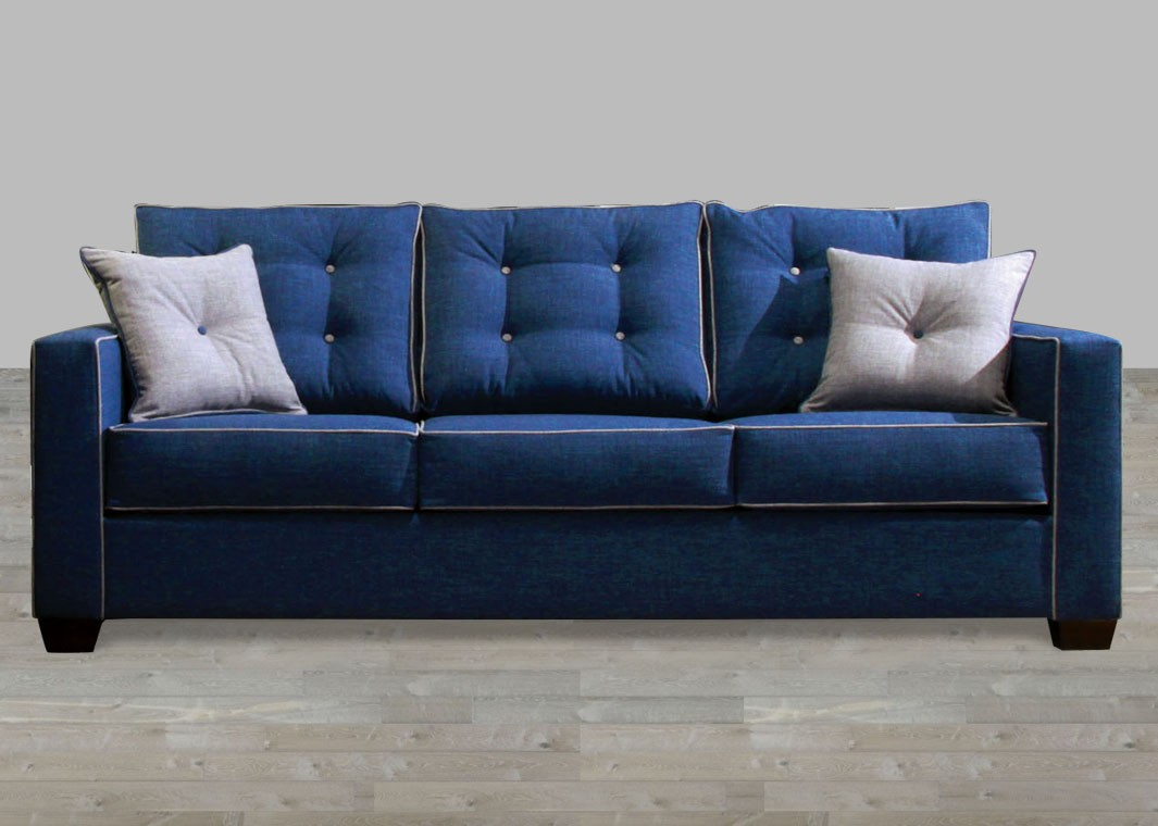contemporary style blue fabric sofa with pillow rolled arm PHSYZKI