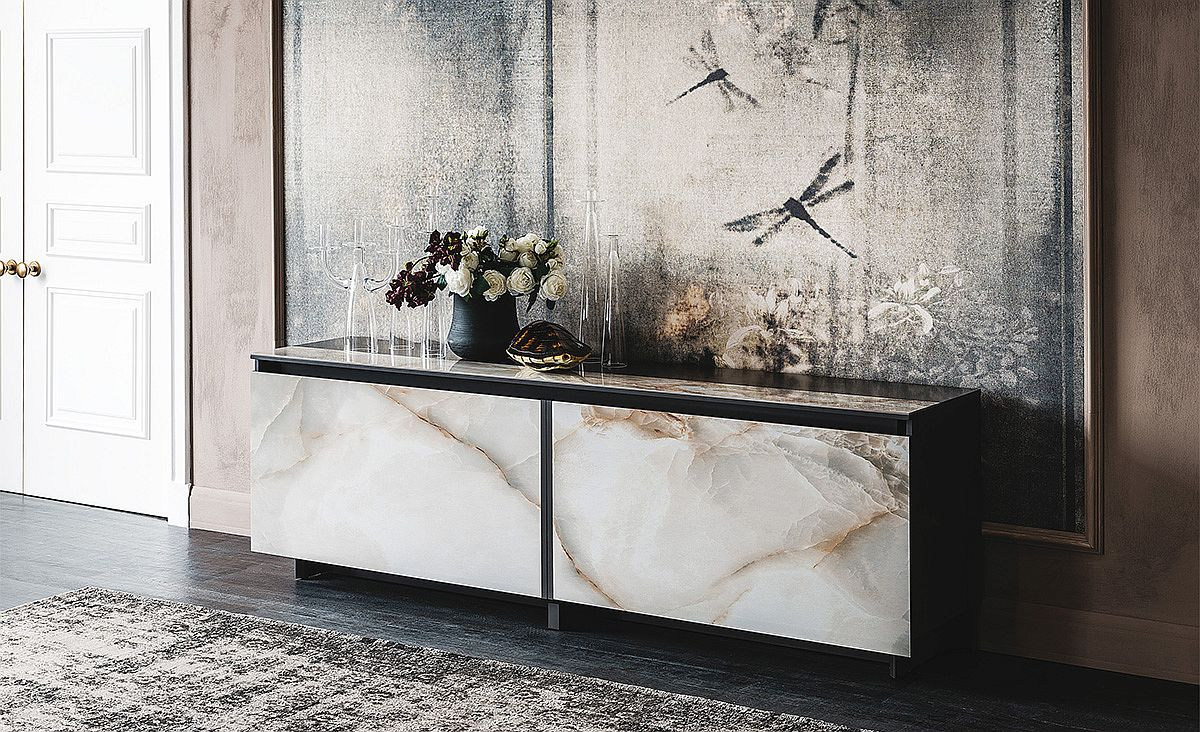 cool contemporary sideboards usher in geo style and textural charm GPBLKQM