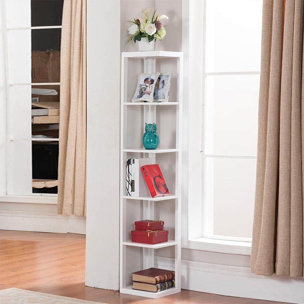corner bookshelf amazon.com: yaheetech 5 tier white finish wood wall corner shelf slim NVFKNQK