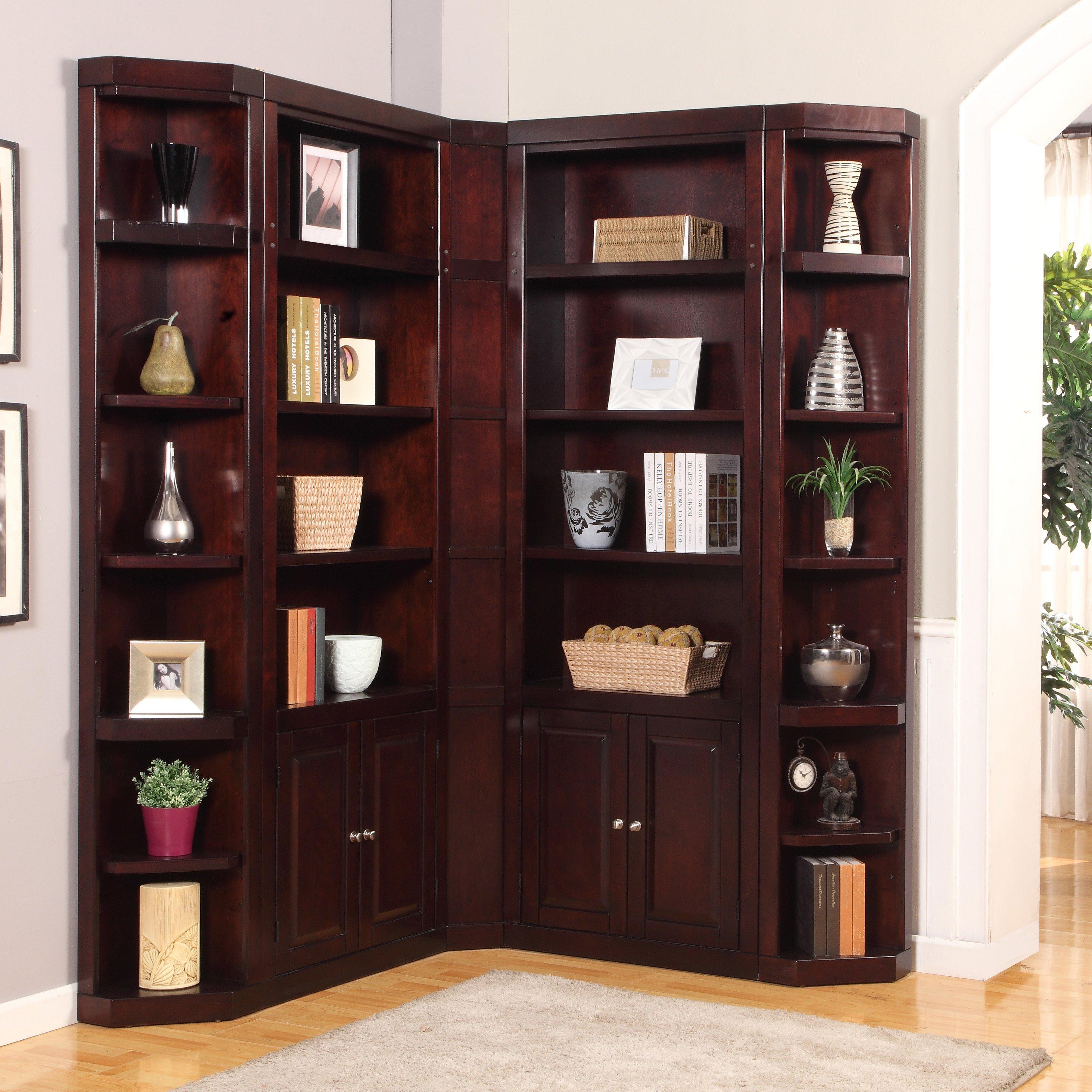 corner bookshelf parker house boston corner bookcase merlot hayneedle knpuhdc - Corner Bookshelves