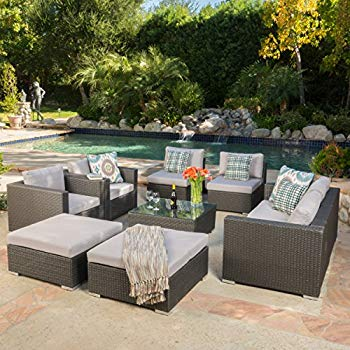 cortez sea 9 piece outdoor wicker furniture sectional sofa set RBWUITW