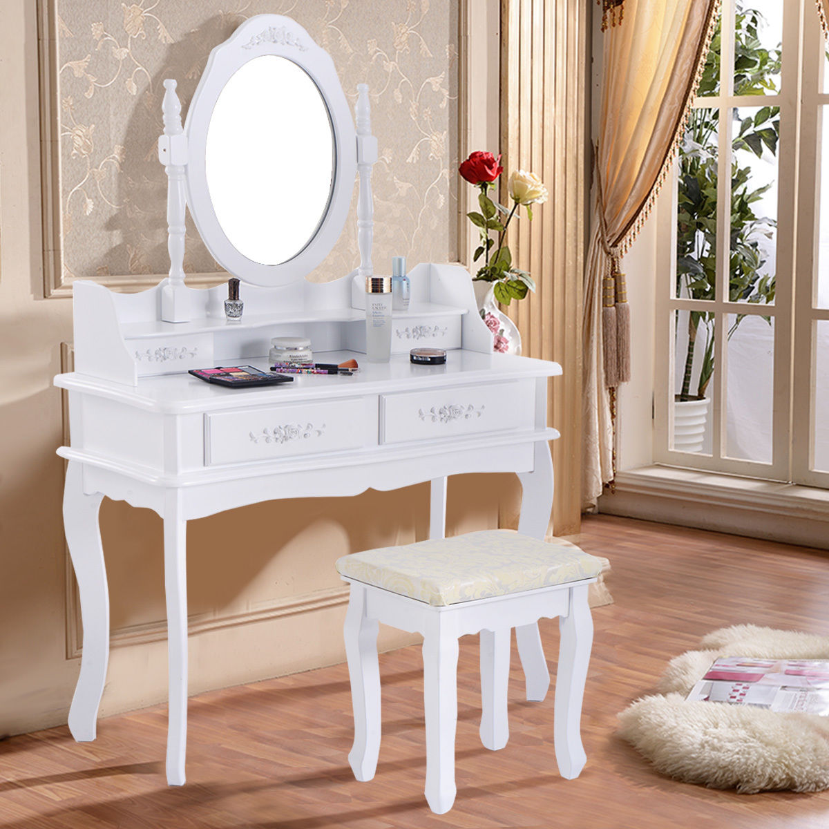costway white vanity jewelry makeup dressing table set bathroom w/stool 4 MPQHEFX
