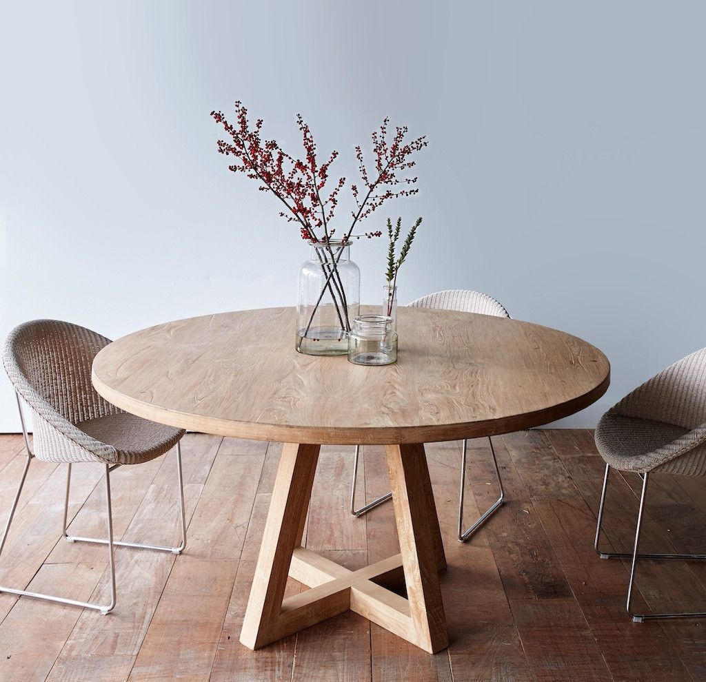 cross leg round dining table whitewashed teak 160 more OAZFLPO
