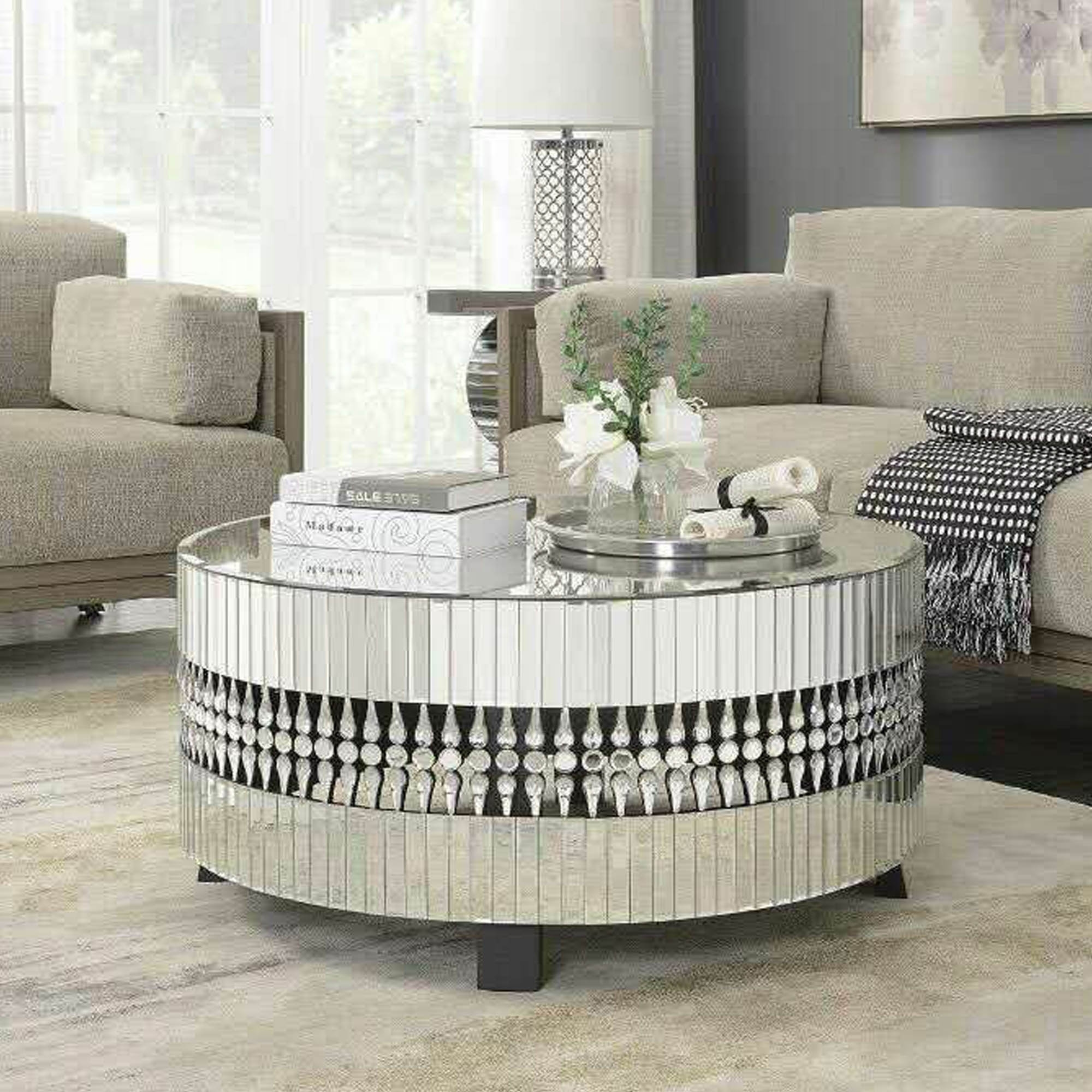 crystal mirrored coffee table SIDTKZZ