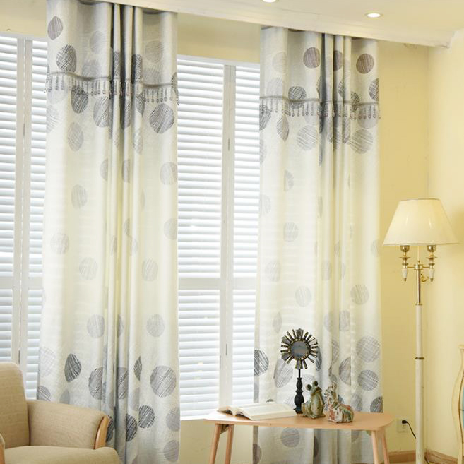 curtain patterns gray print polka dot burlap print living room curtains in modern KLCULYY