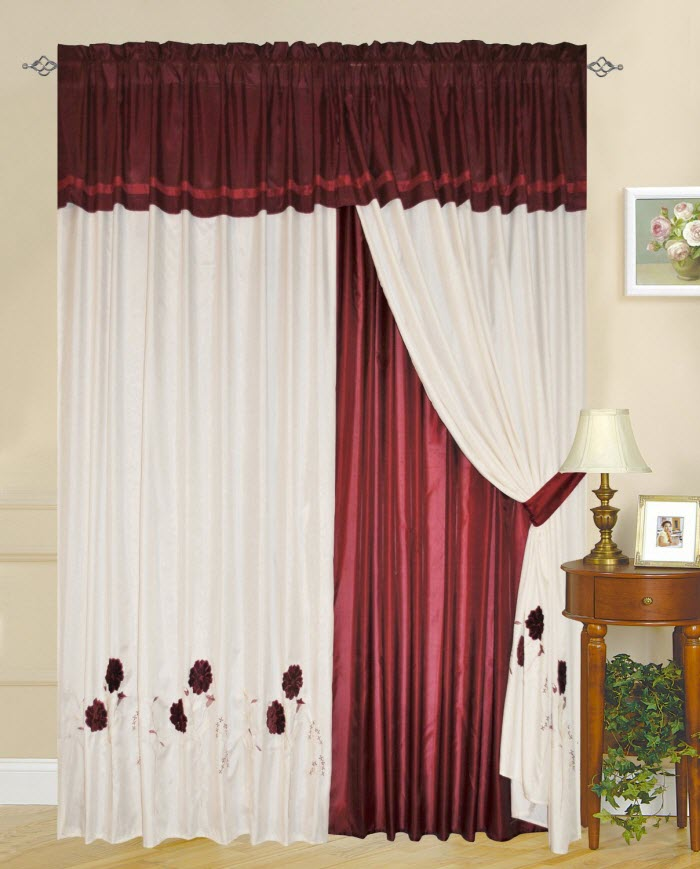 curtain patterns red and white curtain design OOBAACQ