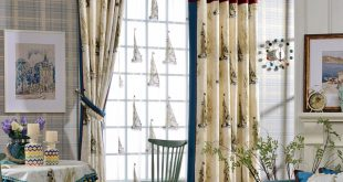 custom beige/blue sailboat nautical curtains JIZUTFN