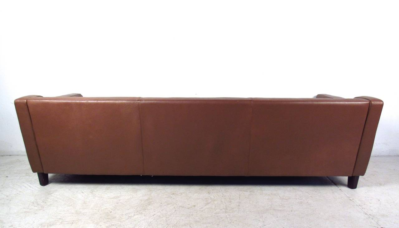 danish vintage leather sofa in the style of børge mogensen for JAOUZWS