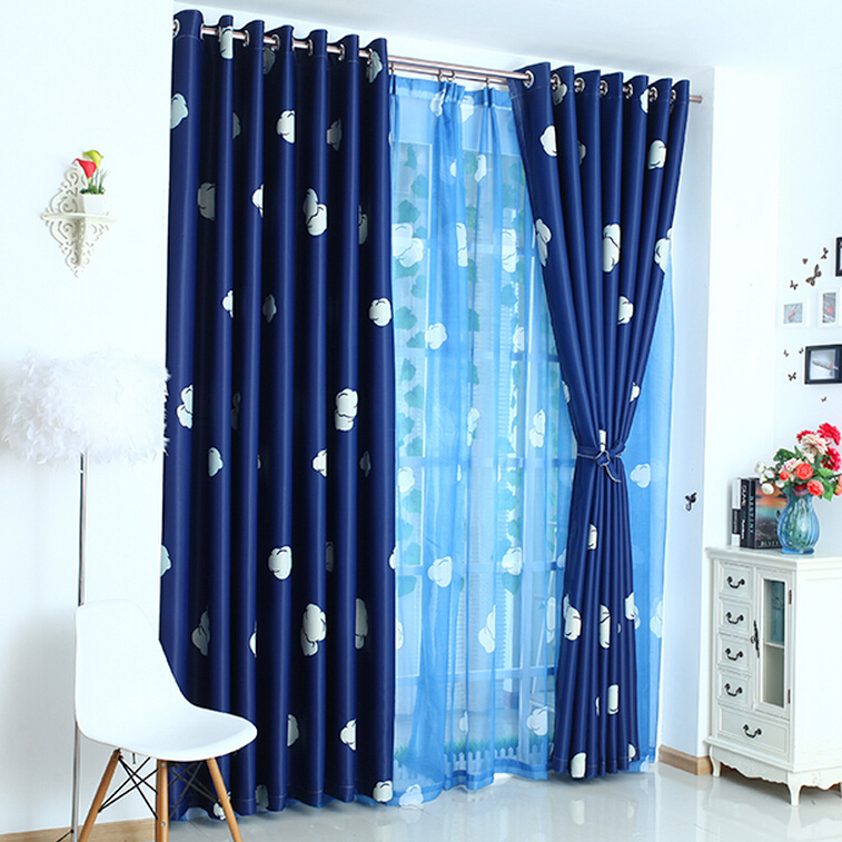dark navy blue thick polyester thermal insulated blackout kids curtains TAOYOKA