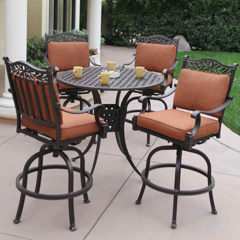 darlee charleston 5 piece cast aluminum patio bar set with swivel KYISDZC