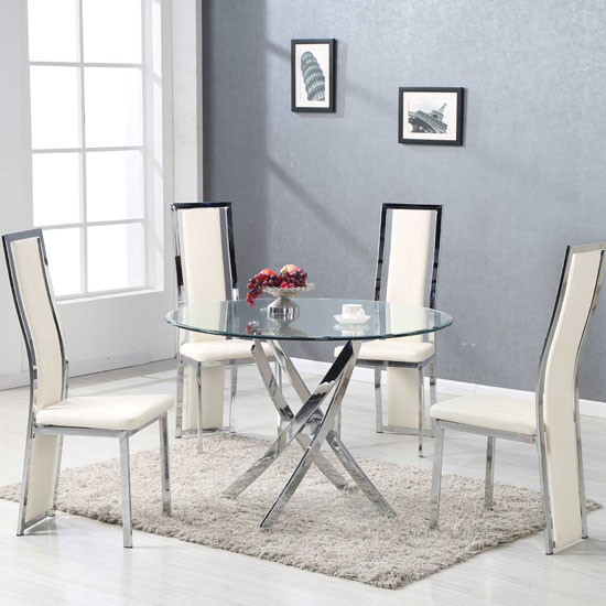 5d9b86e116b6 daytona round glass dining table with 4 collete cream intended for JCDGMSJ